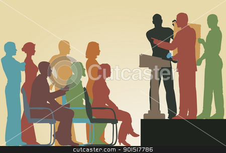 Art auction stock vector clipart, Editable vector silhouettes of people at an art auction by Robert Adrian Hillman
