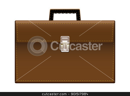 Brief case brown leather stock vector clipart, Brown leather briefcase with handle and stictching by Michael Travers