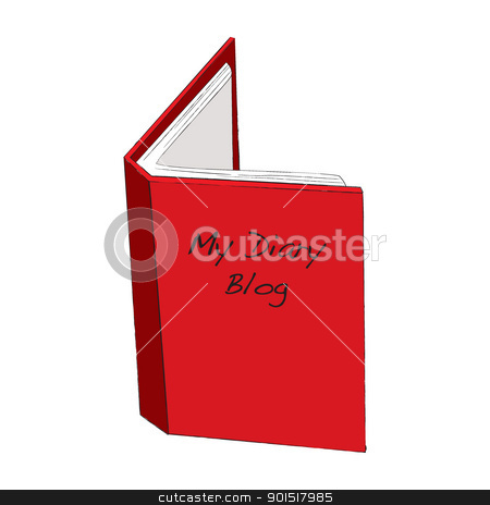 My Diary Blog stock vector clipart, Blog diary concept with red open book and paper by Michael Travers