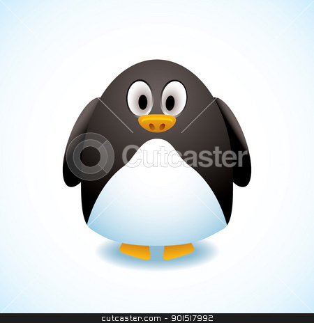Cartoon penguin stock vector clipart, Illustrated cartoon penguin with cute expression by Michael Travers
