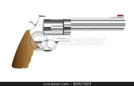 Old handgun stock vector clipart, Old fashioned metal handgun with wood handle by Michael Travers