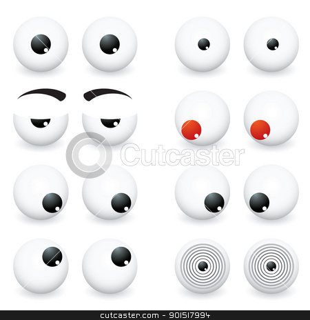 Eye Balls stock vector clipart, Collection of eye ball cartoon in different positions and situations by Michael Travers