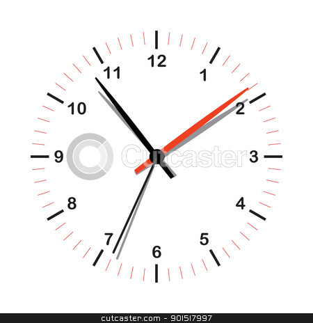 Simple clock stock vector clipart, Illustrated simple clock icon with shadow on hands by Michael Travers
