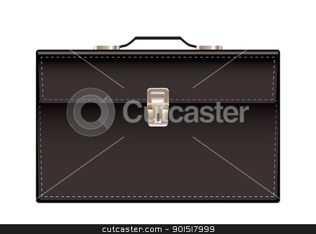 Briefcase black leather stock vector clipart, Retro black leather briefcase with handle and stitching by Michael Travers