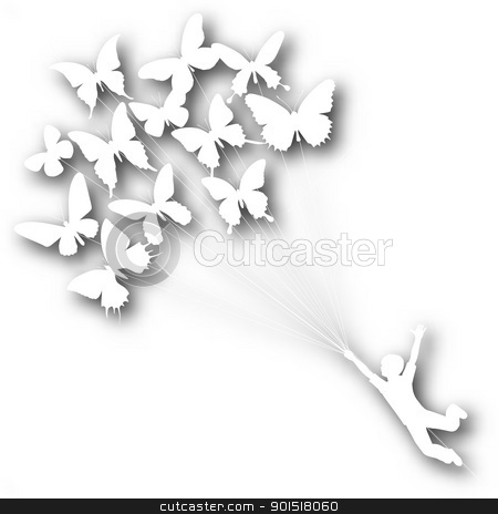 Butterfly boy cutout stock vector clipart, Vector cutout silhouette of a boy carried by flying butterflies with background shadow made using a gradient mesh by Robert Adrian Hillman