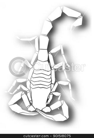 Cutout scorpion design stock vector clipart, Editable vector design of a cutout scorpion with shadow made using a gradient mesh by Robert Adrian Hillman