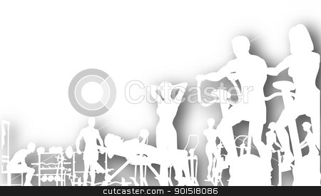 Gym cutout stock vector clipart, Editable vector cutout of people exercising in a gym with background shadow made using a gradient mesh by Robert Adrian Hillman