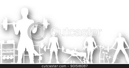 Gymnasium cutout stock vector clipart, Editable vector cutout of people exercising in a gym with background shadow made using a gradient mesh by Robert Adrian Hillman