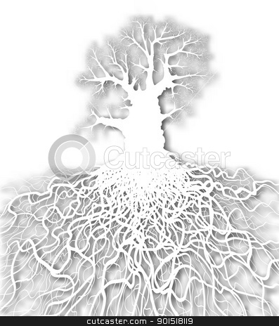White tree stock vector clipart, Editable vector cutout of a leafless oak tree plus root system with background made using a gradient mesh by Robert Adrian Hillman