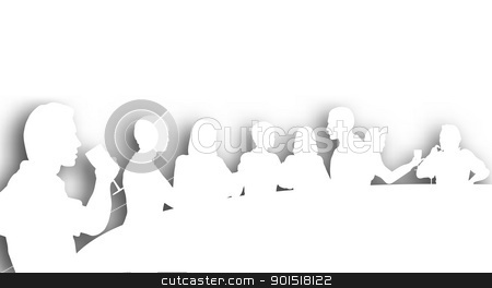 Wine bar cutout stock vector clipart, Editable vector cutout silhouettes of people in a wine bar with background shadow made using a gradient mesh by Robert Adrian Hillman