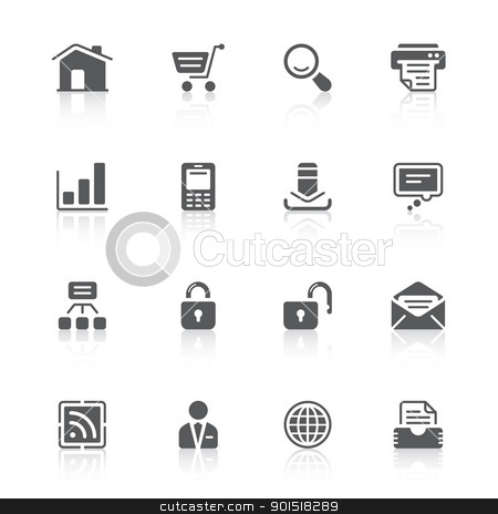 website icons stock vector clipart, black icons with reflections for web design by artizarus