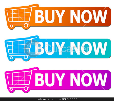 buy now signs stock photo, Three buy now signs with clipping path by Markus Gann
