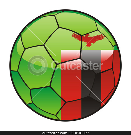 Zambia flag on soccer ball stock vector clipart, vector illustration of Zambia flag on soccer ball by pilgrim.artworks
