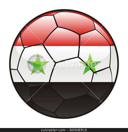 Syria flag on soccer ball stock vector clipart, vector illustration of Syria flag on soccer ball by pilgrim.artworks