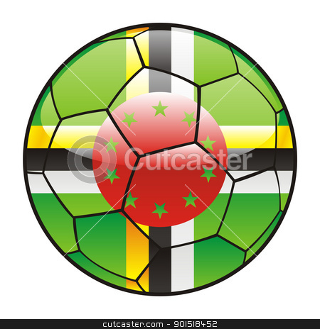 Dominica flag on soccer ball stock vector clipart, vector illustration of Dominica flag on soccer ball by pilgrim.artworks