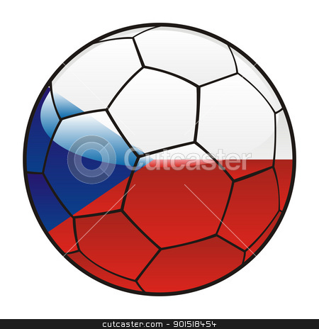 Czech flag on soccer ball stock vector clipart, vector illustration of Czech flag on soccer ball by pilgrim.artworks