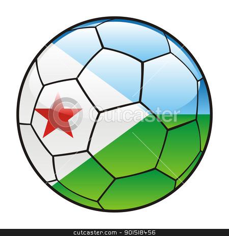 Djibouti flag on soccer ball stock vector clipart, vector illustration of Djibouti flag on soccer ball by pilgrim.artworks