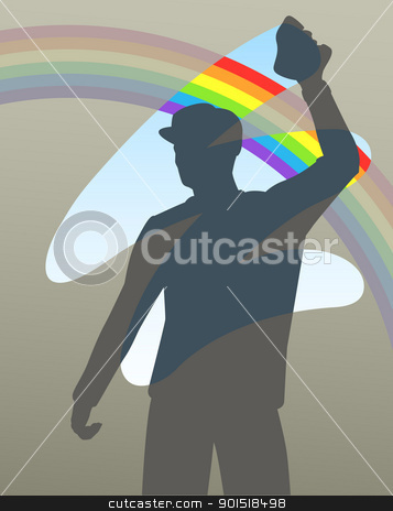 Rainbow wipe stock vector clipart, Editable vector illustration of a man cleaning a window to reveal a rainbow by Robert Adrian Hillman