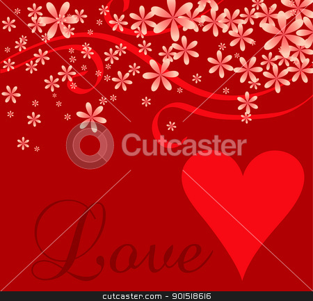 Love Heart Cursive Background stock vector clipart, Vector illustration of a love or Valentines background. by Basheera Hassanali