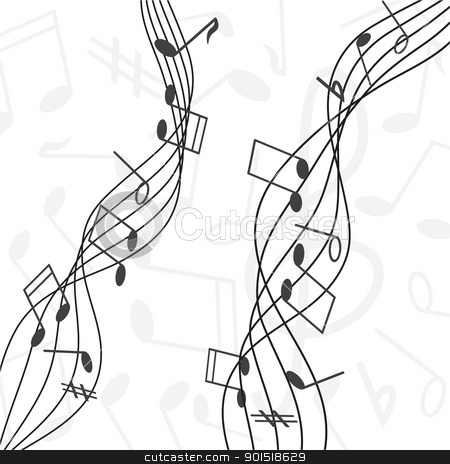 musical notes  stock vector clipart, musical notes staff vector illustration by antkevyv