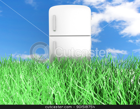 Ecologic Refrigerator stock photo, A classic Fridge. 3D rendered Illustration.  by Michael Osterrieder