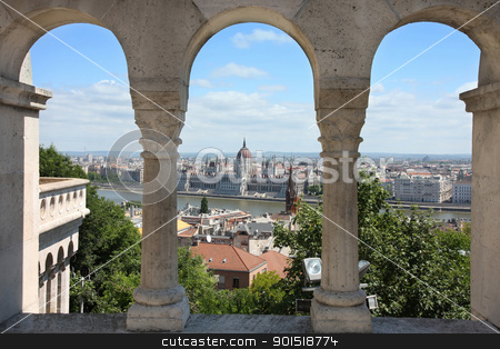 Budapest, Hungary from Fishermen's Bastion stock photo, view of Budapest, Hungary from Fishermen's Bastion by vladacanon1