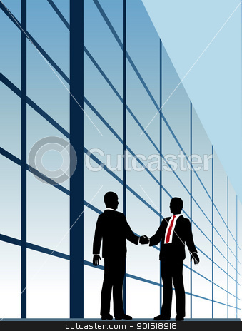 Business relationship handshake building window stock vector clipart, Business people shake hands to agree on relationship or deal by Michael Brown