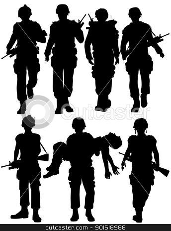 Soldiers stock vector clipart, Set of editable vector silhouettes of walking soldiers by Robert Adrian Hillman