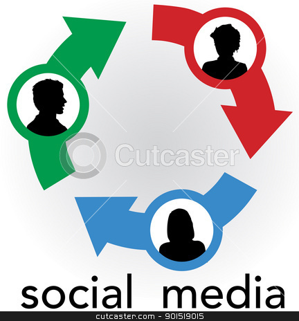 Social Media arrows connect people network stock vector clipart, Arrow connections link people silhouettes in a social media network friendship circle by Michael Brown
