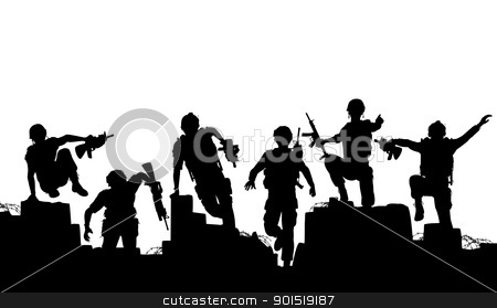 Charge stock vector clipart, Editable vector silhouettes of armed soldiers charging forward with each man as a separate object by Robert Adrian Hillman