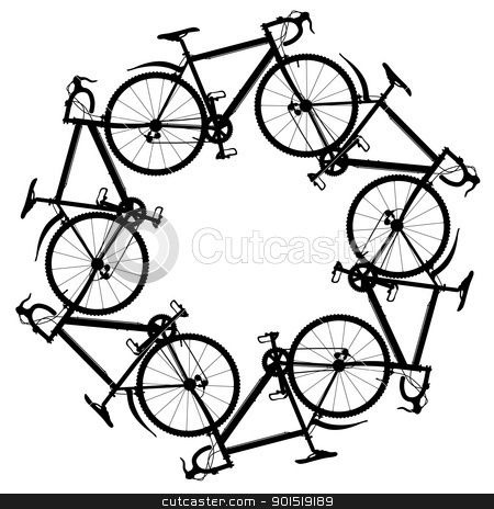 Cycling around stock vector clipart, Editable vector illustration of six generic bicycle silhouettes joined in a hexagonal ring by Robert Adrian Hillman