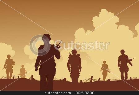 On patrol stock vector clipart, Editable vector illustration soldiers walking on patrol  by Robert Adrian Hillman