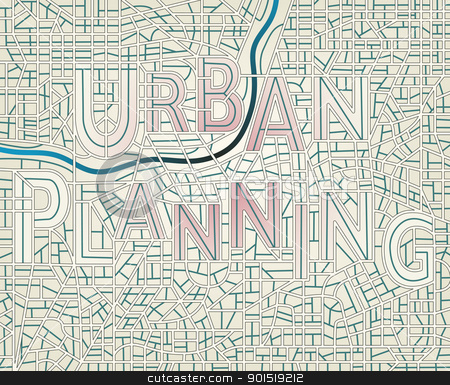 Urban planning stock vector clipart, Editable vector map of a generic city with the streets spelling the words