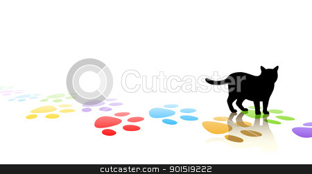 Catwalk stock vector clipart, Editable vector illustration of a cat silhouette and colorful paw prints with space for text by Robert Adrian Hillman