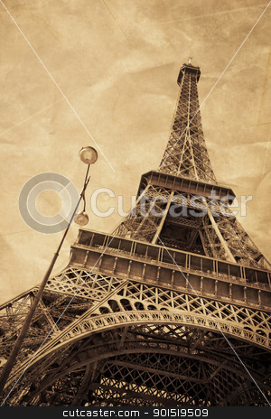 Eiffel Tower Old style stock photo, The Eiffel Tower as an old postcard from Paris by tristanbm