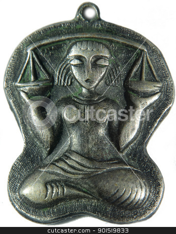 Libra. Zodiac icon stock photo, Silver icon of libra. Woman with libra in hands by Lacroix
