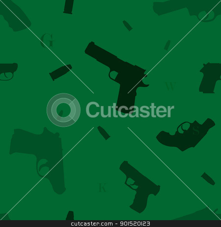 Seamless pattern with variety of hand guns stock vector clipart, Seamless pattern with variety of hand guns, bullets and some alphabet letters by lkeskinen