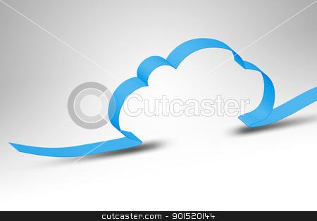 cloud computing stock photo, A blue ribbon making a cloud computing background by Markus Gann