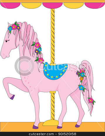 Carousel Horse stock vector clipart, A lovely pink carousel horse, with a flowing mane and tail adorned with flowers, is sporting a blue saddle. by Maria Bell