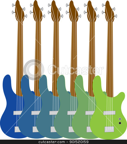 Colorful Bass Guitars stock vector clipart, A colorful display of bass guitars, with variegated shades running from blue to green. by Maria Bell