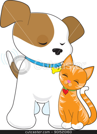 Cute Puppy and Cat stock vector clipart, A cute puppy with tail wagging, fondly gazes on his little friend, a marmalade kitty cat. by Maria Bell