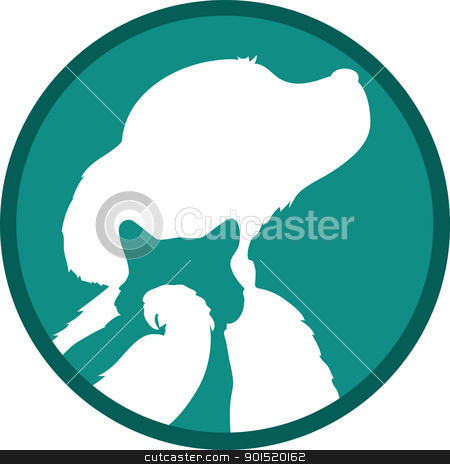 Dog Cat Bird stock vector clipart, Silhouettes of a bird, cat and dog are set in a concentric manner, one within another, over a green background. by Maria Bell