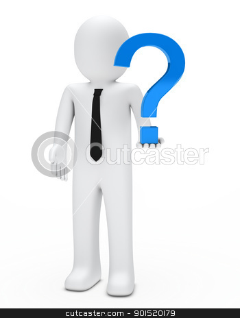 man hold question mark stock photo, business man hold a blue question mark by d3images