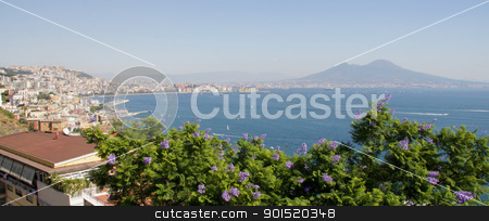 The Gulf of Naples stock photo, The spectacular bay of Naples, with the ominous and still active (volcano) Mount Vesuvius in the background.  by Chris Hill