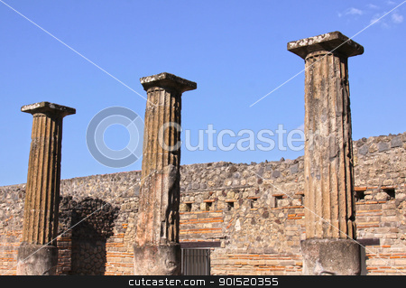 Three Columns in Pompeii stock photo, Three large preserved columns in the Roman city of Pompeii.  It was completely buried by an eruption of Mount Vesuvius in AD 79.  by Chris Hill
