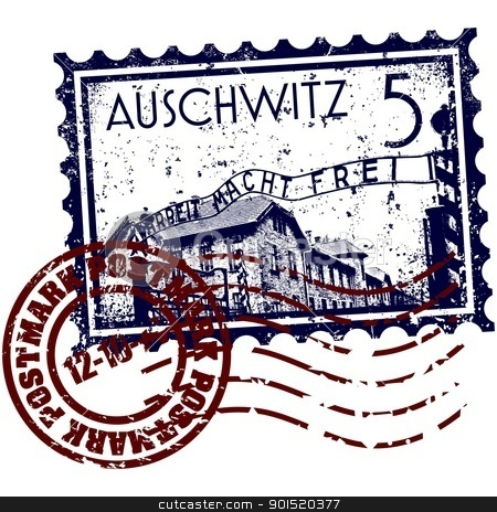 Vector illustration stock vector clipart, Vector illustration of Auschwitz stamp by Myvector