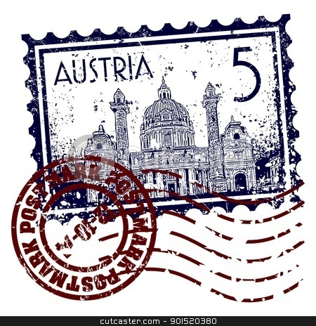 Vector illustration stock vector clipart, Vector illustration of stamp or postmark of Austria by Myvector