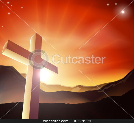 Easter cross concept stock vector clipart, Sun rising behind the Cross over a mountain range. Resurrection Christian Easter concept by Christos Georghiou