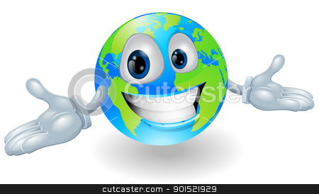 Happy cute globe character stock vector clipart, Illustration of a smiling happy globe character with hands held out by Christos Georghiou