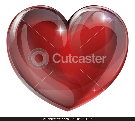 Heart graphic stock vector clipart, A shiny glossy heart illustration. Classic symbol for love. by Christos Georghiou